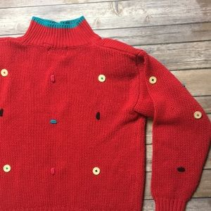VINTAGE TURTLENECK BUTTON KNITTED SWEATER